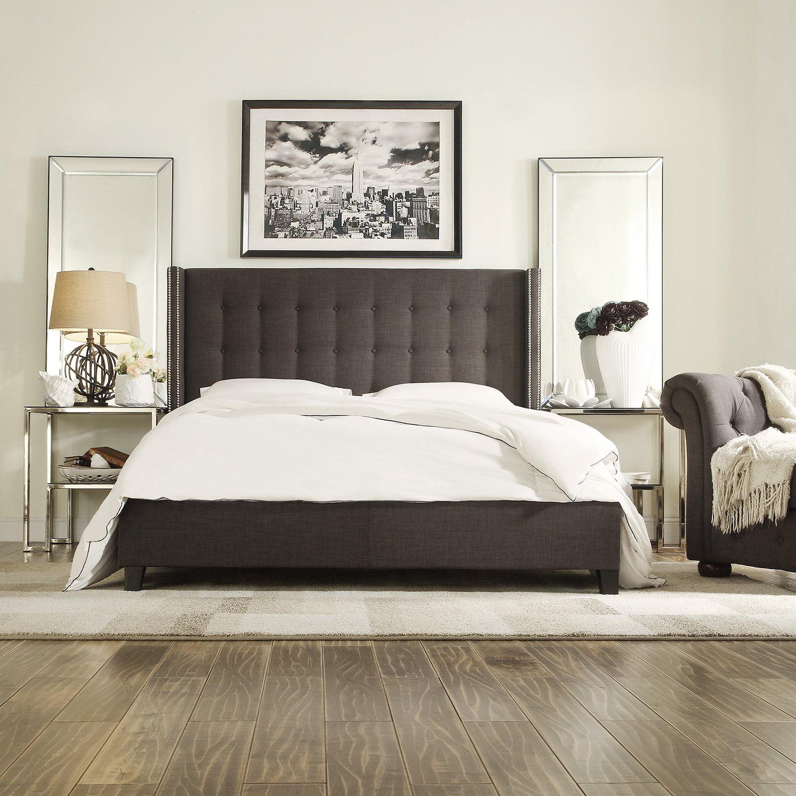 Chelsea lane arundel upholstered wingback bed walmart com