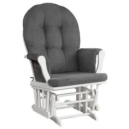 Angel Line Windsor Glider, White w/ Dark Gray Cushion
