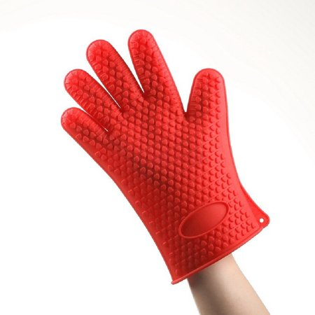 Heat Resistant Silicone Grilling Glove - Red