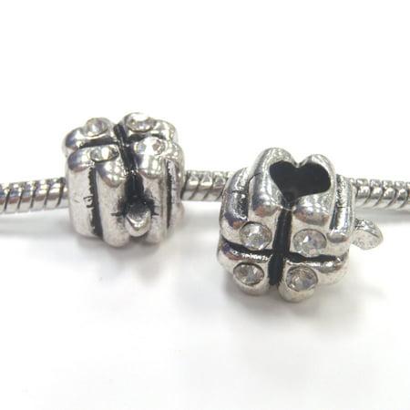 3 Beads - Four Leaf Clover White Rhinestone Silver European Bead Charm E1037