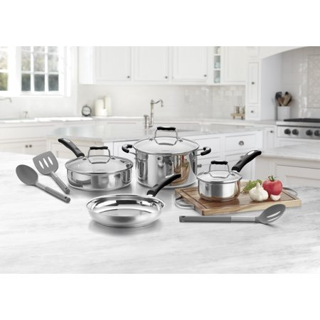 Cuisinart 10 Piece Stainless Steel Cookware Set, Gray Tools