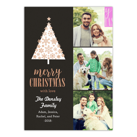 Christmas Cards Cheap (Snowflake Tree - 5x7 Personalized Christmas)