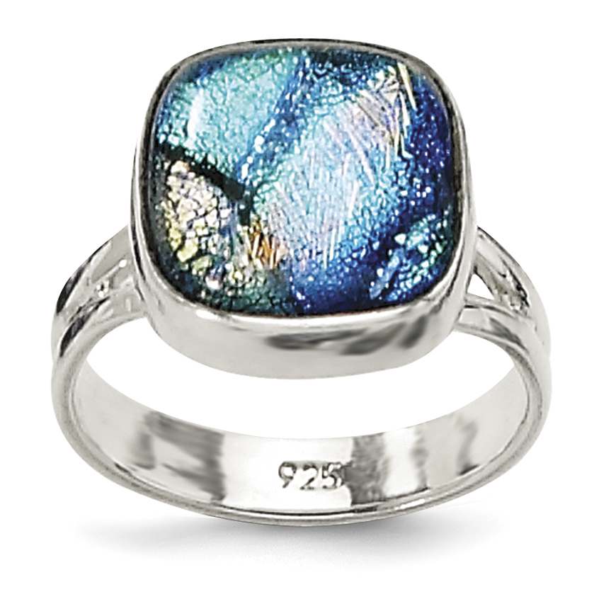 925 Sterling Silver Blue Dichroic Glass Band Ring Size 8.00 Fine Jewelry Gifts For Women For Her - image 4 de 4