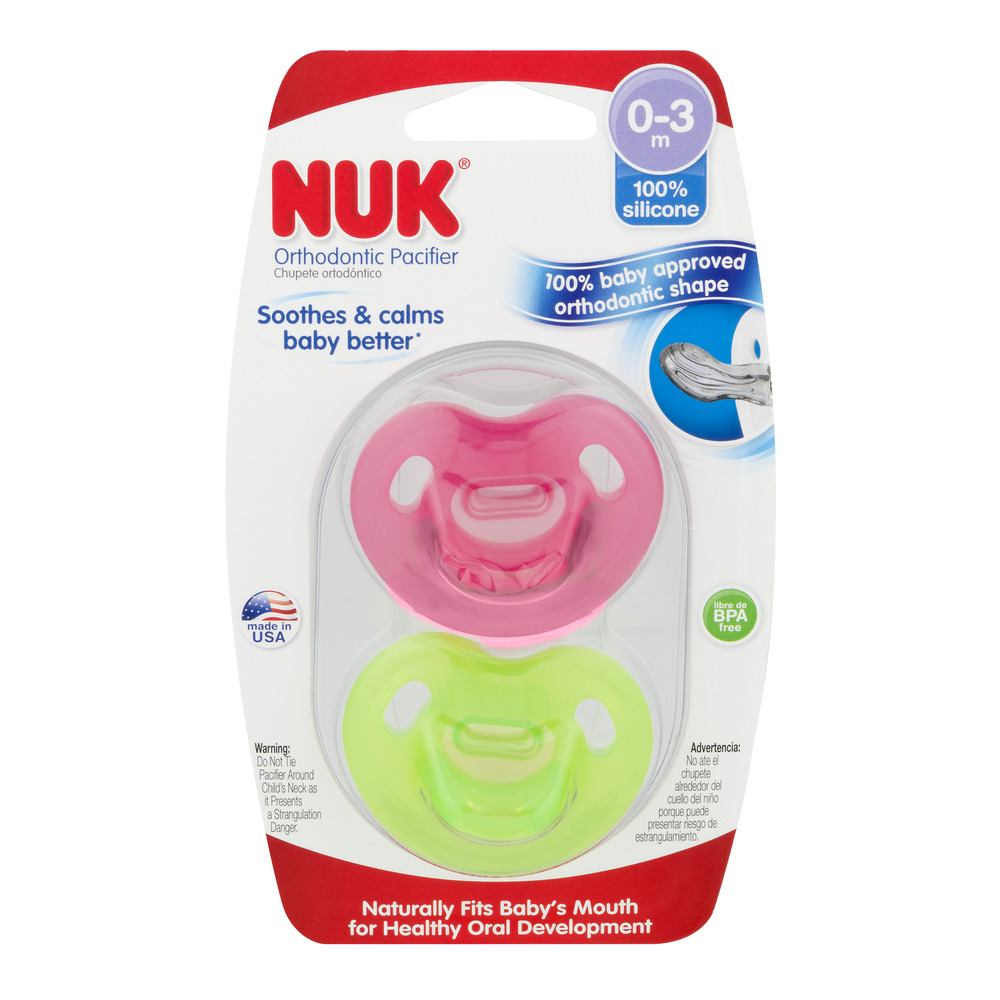 NUK Newborn 100% Silicone Pacifier, Size 0-3 Months, 2-Pack, Girl Colors