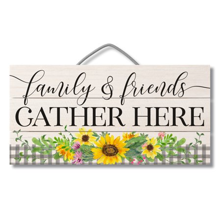 Highland Home Gather Here Sunflower Pallet Wood Sign 12 inch by 6 inch Made in the USA Retreat Wood Sign