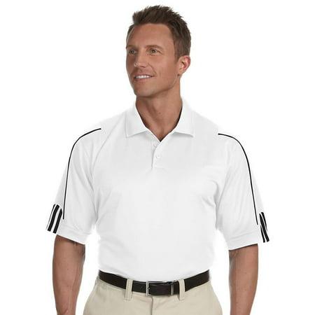 Adidas Pencil Polo Shirt (Adidas A76 Mens Three Stripes Cuff Polo -White/Black)