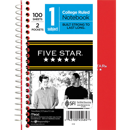 "Five Star 1-Subject 5""x7"" Poly Cover Notebook, 100 sheets, Colors May Vary"