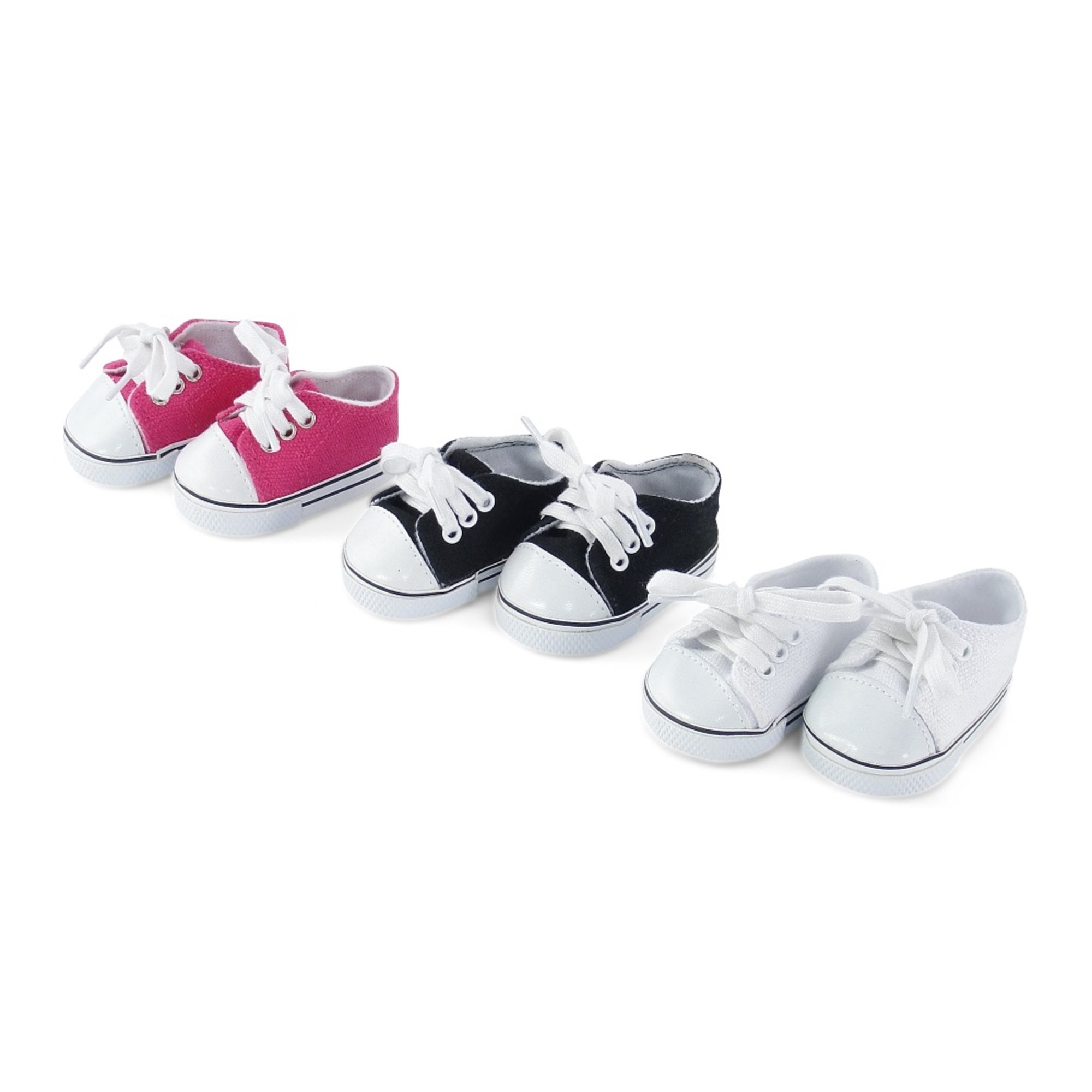 18 Inch Doll Clothes| Versatile Canvas Doll Sneakers Basics Value 3-pack, Including Bright Pink, White and Black Tennis Shoes |Fits American Girl Dolls