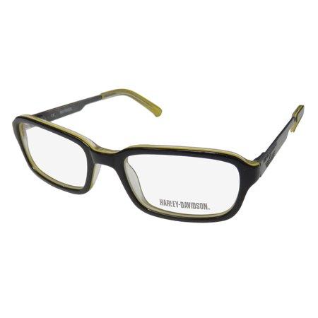 New Harley-Davidson Hdt 110 Mens/Womens Designer Full-Rim Black / Yellow / Gray Signature Emblem Hot Frame Demo Lenses 48-17-130 Spring Hinges Eyeglasses/Glasses