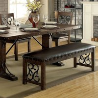 Wooden Bench With Metal Work, Rustic Walnut Brown