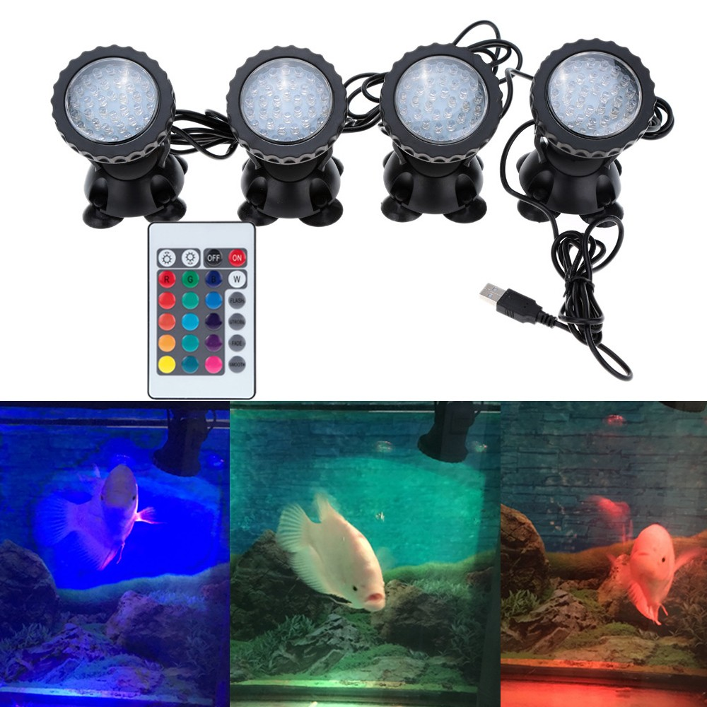 Lixada Underwater 144LEDs 6W 12V Waterproof IP68 Submersible 4-Light Spot Light for Aquarium Garden Pond Pool Fountain Tank