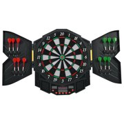 Costway Professional Electronic Dartboard Cabinet Set w  12 Darts Game Room LED Display by Costway