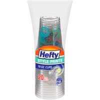 Hefty Style Prints Plastic Cups, 18 Ounce, 20 Cups