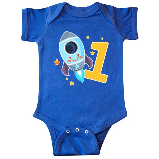 Rocket Space ship Happy First Birthday Infant Creeper