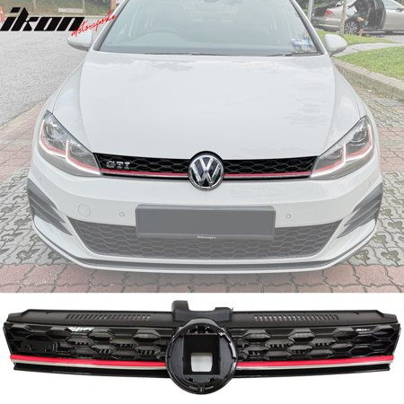 Fits 17-19 VW Golf MK7 7.5 GTI Style Mesh Front Hood Grille w/ Red Trim (Mesh Style Front Grille)