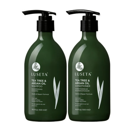 Luseta Tea Tree & Argan Oil Detangling Shampoo & Conditioner Set 2 x 16.9oz for Damaged & Oily Hair - Sulfate Free Paraben (Best Drugstore Shampoo And Conditioner For Oily Hair)