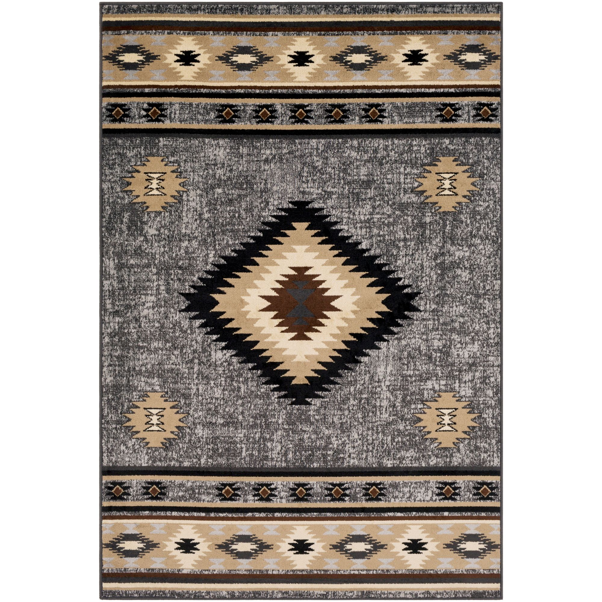 2 X 3 Frost Gray And Black Geometric Rectangular Area Throw Rug Walmart Com