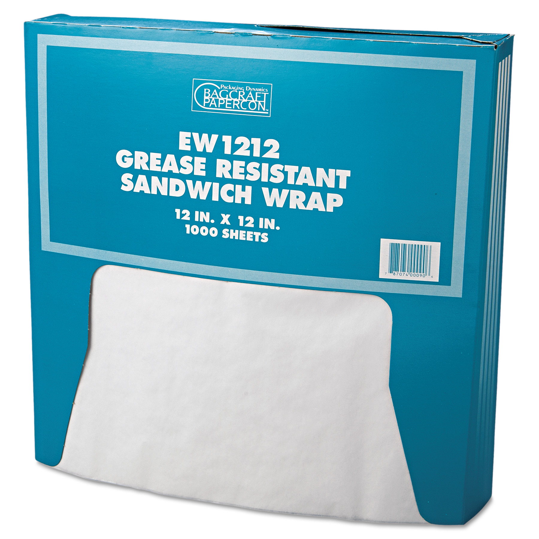 Bagcraft Papercon  12x12 Grease-Resistant Paper Wrap/Liner, White, 1000 count, (Pack of 5)