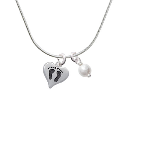 Small Heart with Baby Feet - Imitation Pearl Bicone Crystal Necklace