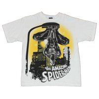 Spider-man Mens T-Shirt - Upside Down From Street Lamp Yellow Background