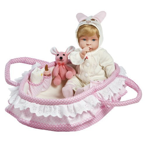 "Paradise Galleries Lifelike Realistic Soft Vinyl Weighted 18 inch Baby Girl  Doll Gift ""Molly & Fluffy"" Great to Reborn"