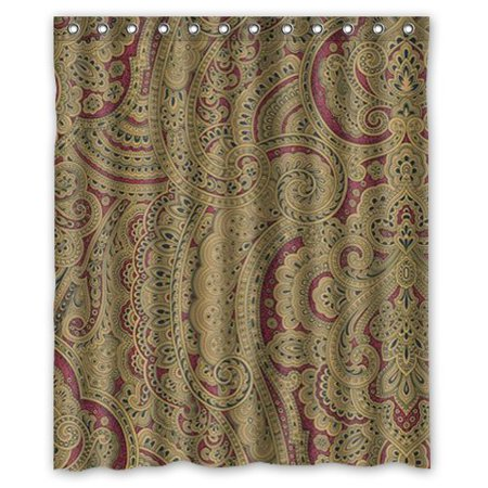 HelloDecor Beige Brown Oriental Iranian Paisley Swirls Shower Curtain Polyester Fabric Bathroom Decorative Curtain Size 60x72 Inches Brown Paisley Shower Curtain