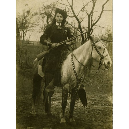 Cowgirl Ca 1890SLone Star May Mackey Cowgirl Performer Lone Star May Sitting On Her Horse With Great Cowgirl Hat Outfit Gauntlets Fancy Bridle On Horse And 1897 Winchester Shotgun Poster Print (Cow Girl Outfits)