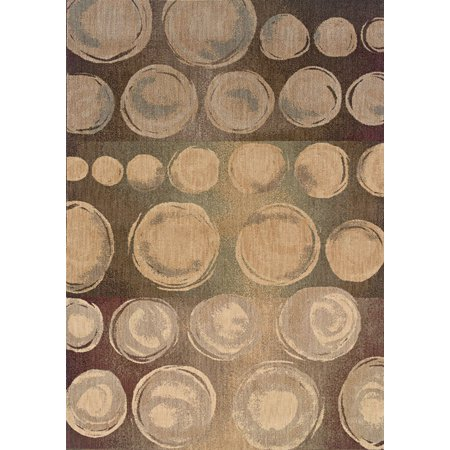 - Moretti San Torino Area Rugs - 2925A Transitional Casual Beige Circles Stripes Spheres Rug 3' 10