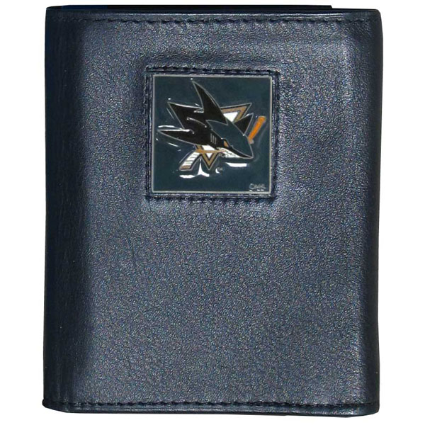 San Jose Sharks�� Deluxe Leather Tri-fold Wallet Packaged in Gift Box