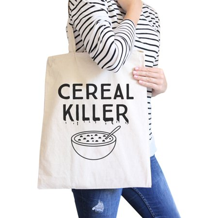 Cereal Killer Halloween Gift Bag Heavy Cotton Natural Canvas Tote