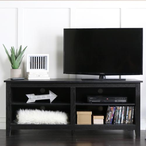 WE Furniture Black Wood 58-inch TV Stand