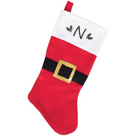 Monogrammed Christmas Stocking, Red and White Belted Santa with Kids Glitter Initial