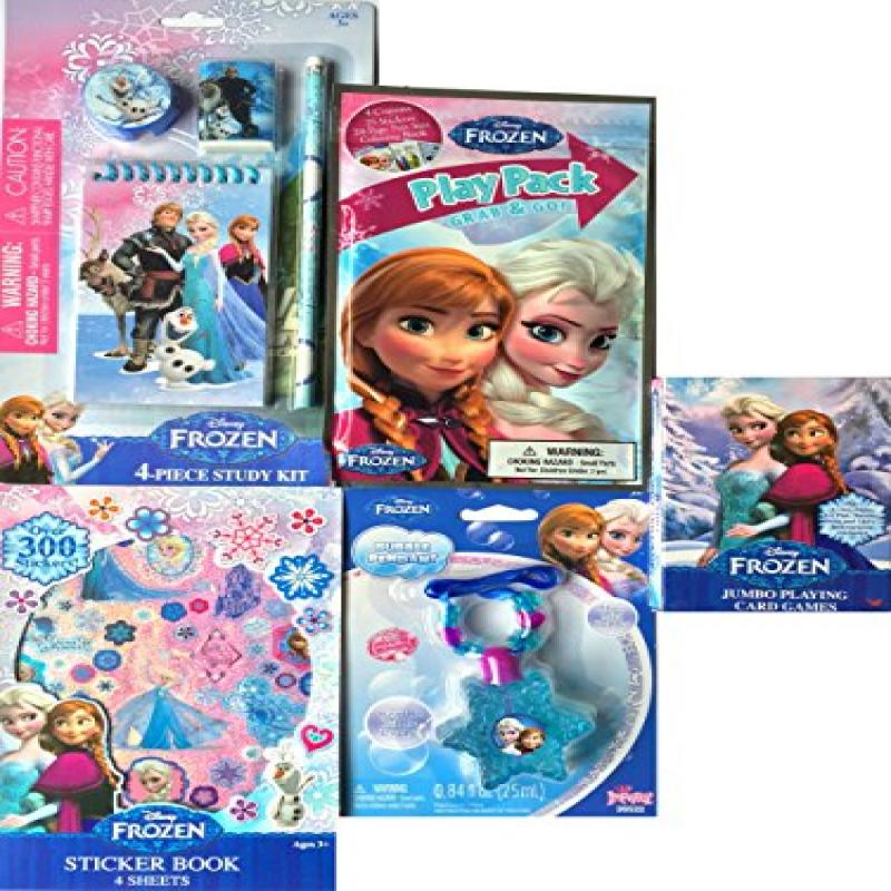 Disney Frozen Deluxe Arts and Crafts Gift Set Includes Disney Frozen Sticker Book, Disney Frozen Play Pack Grab and Go, Disney Frozen Jumbo Playing Card Games,disney Frozen Bubble Pendant Disney Froze