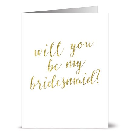 24 Note Cards - Gold Be My Bridesmaid - Blank Cards - Gray Envelopes Included