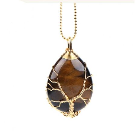 Tiger Eye Teardrop Natural Stone Goldtone Twisted Wire Tree of Life Design Necklace J-231