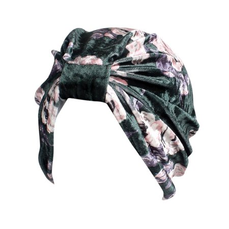 Velvet Turban - Outtop Women India Muslim Stretch Velvet Floral Turban Hat Head Scarf Wrap Cap