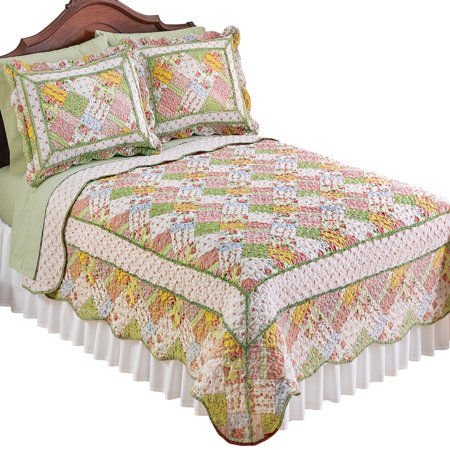Reversible Savannah Pastel Cottage Floral Patchwork Quilt (Pastel Cotton Quilt)