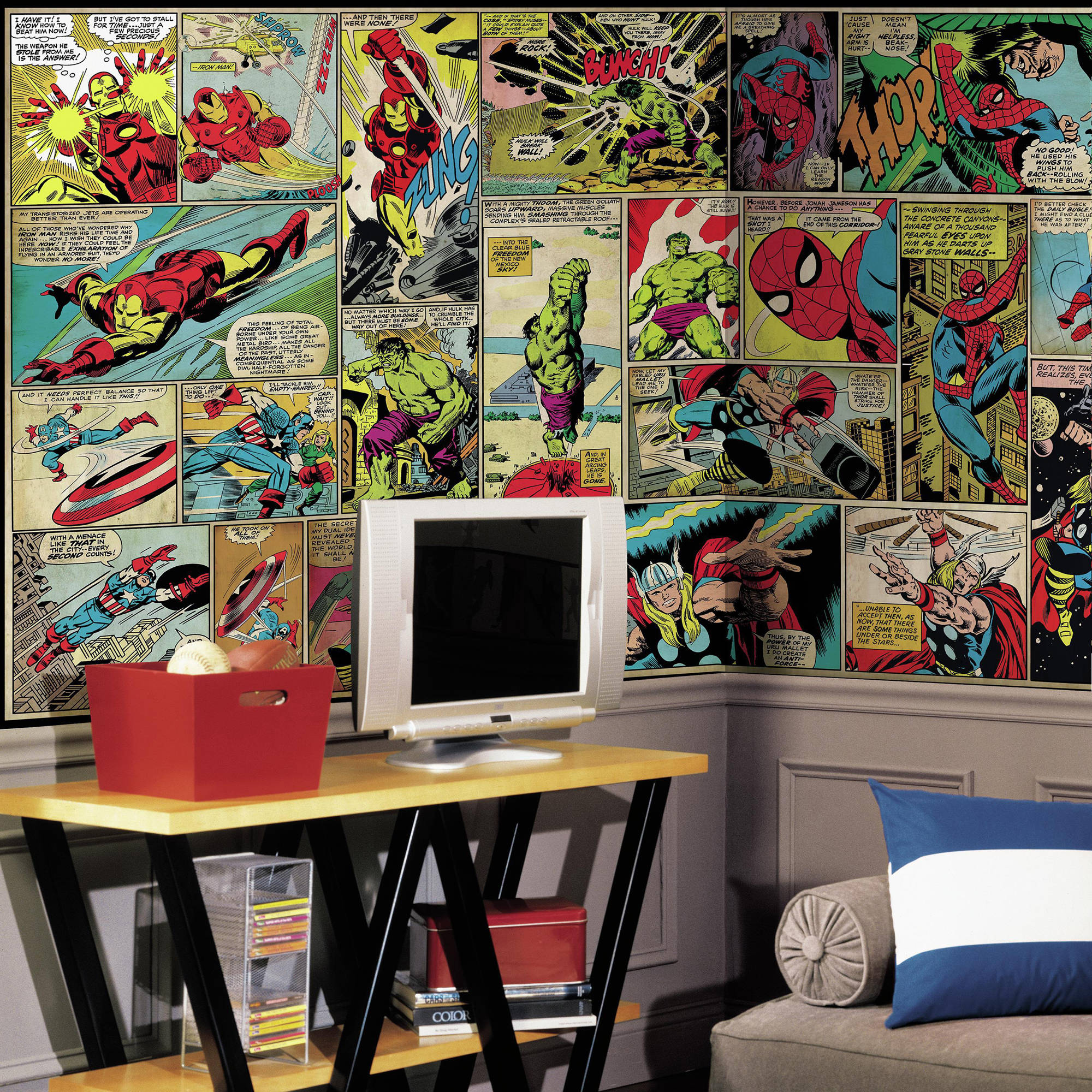 RoomMates Marvel Comic Panel XL Chair Rail Prepasted Mural, 6' x 10.5', Ultra-Strippable