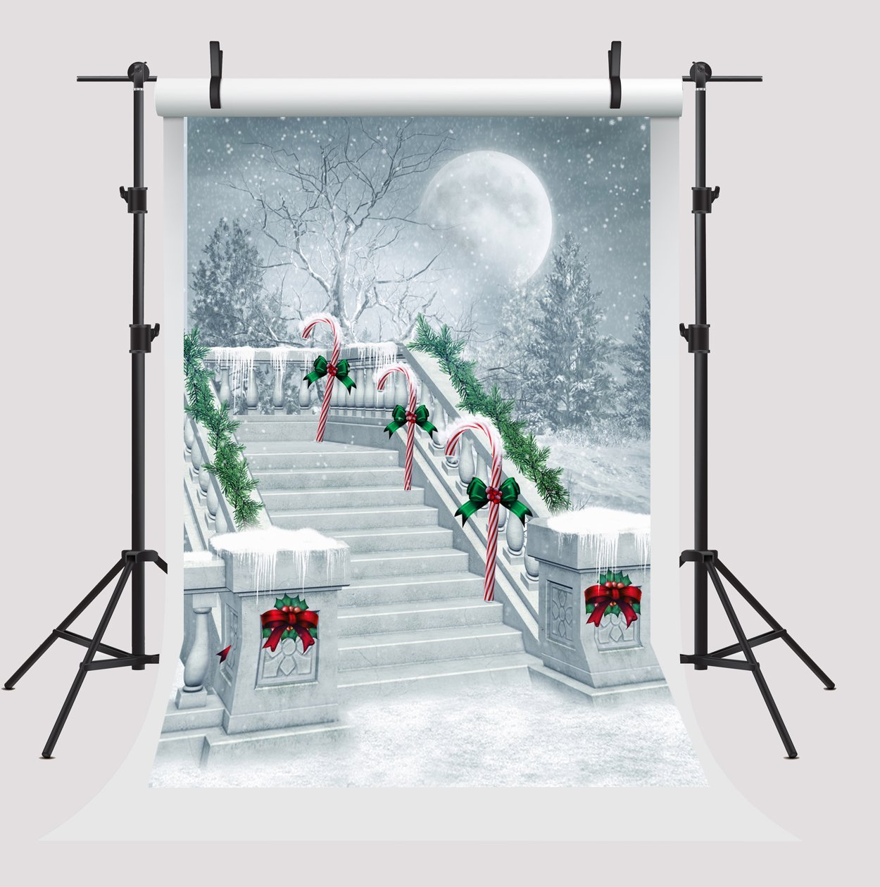 MOHome Polyster 5x7ft Christmas Photography Backdrop Snow Vintage Stairs Background Moon Snowflake Photo Studio Props for Photographers