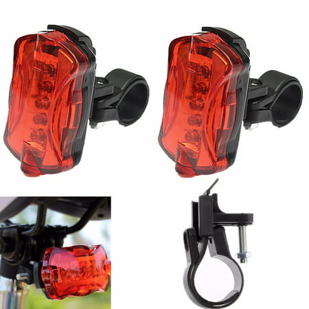 Bike Tail Light 5 LED Cycling Lights Bicycle Red Flashing Tail Light Rear Light Warning Signal Safety Lamp for Cycling Riding Warning