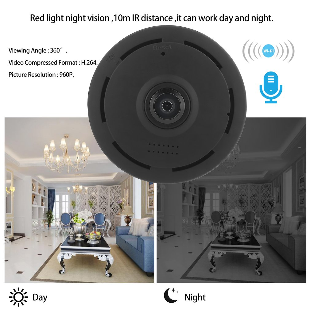 960P HD 360 Degree Panoramic WiFi Night Vision IP Camera Security Network Cam