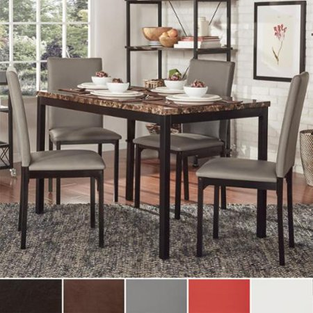 INSPIRE Q Darcy Faux Marble Top Metal 5 Piece Casual Dining Set