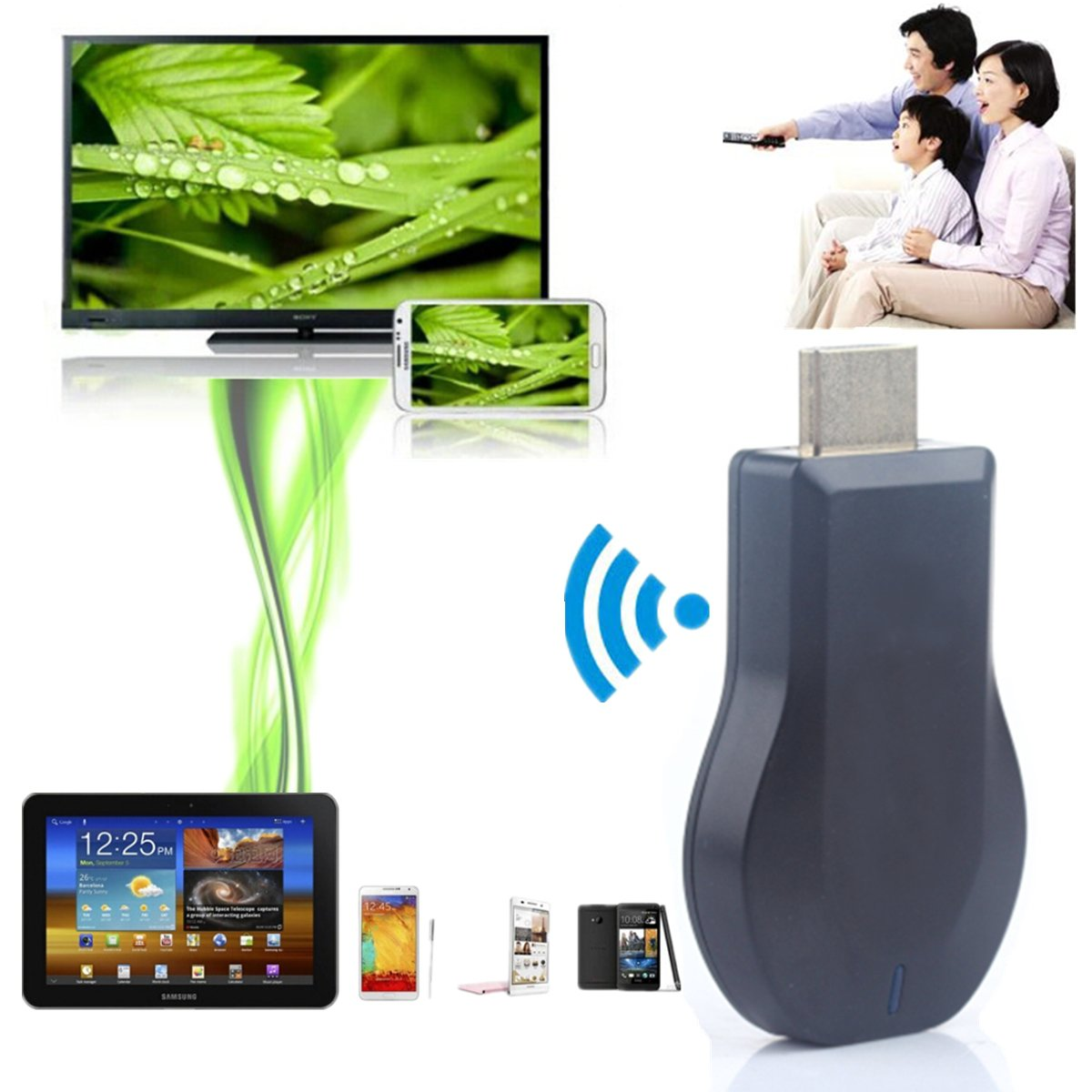 1080P M2 Full HD 3D airplayradioreceiver Wireless WiFi Updated Miracast DLNA Air TV Stick Mini Receiver Screen Mirroring Dongle Adapter Cloud for TV IOS Apple iPad Android Smartphone Win10