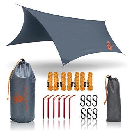 RainFlyEVOLUTION 12 x 10 ft HAMMOCK WATERPROOF RAIN FLY TENT TARP & Survival Bracelet Kit – Lightweight - Backpacker Approved - DIAMOND RIPSTOP NYLON - Perfect Hammock Shelter Sunshade for