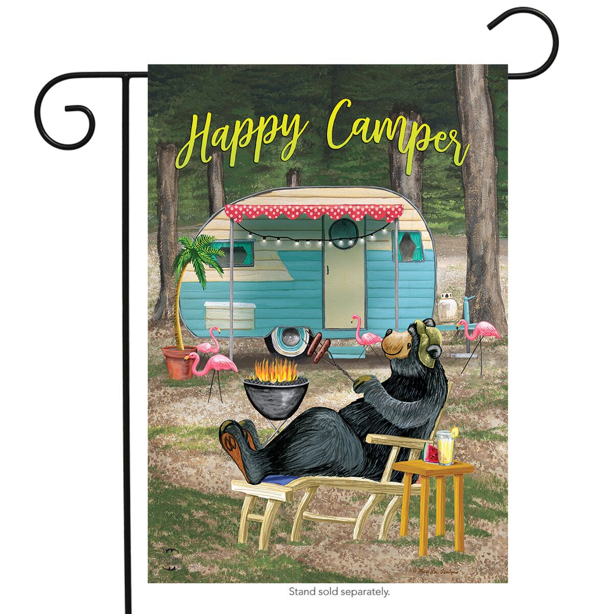 "Happy Camper Bear Summer Garden Flag Outdoors 12.5"" x 18"" Briarwood Lane"