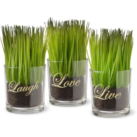 National Tree Artificial 3-Piece Sprout-Filled Glass