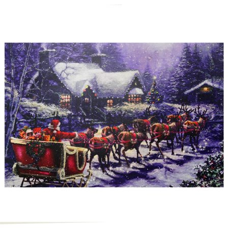LED Lighted Santa and Reindeer Making Deliveries Christmas Canvas Wall Art 15.75