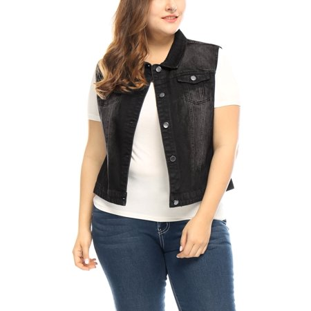 Women Plus Size Chest Pockets Denim Vest