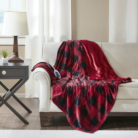 "60"" x 70"" Oversized Electric Plush Throw Red Buffalo Check"