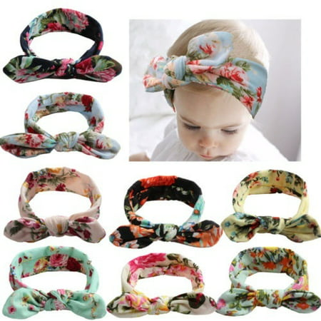 Newborn Baby Girl Printed Crossing Headband Infant Toddler Bow Hair Band
